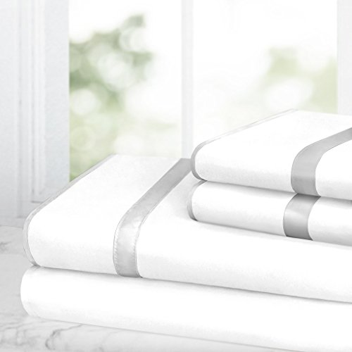 Egyptian Luxury Bed Sheet Set – 1500 Hotel Collection w/ Beautiful Satin Band Trim - Ultra Soft Wrinkle & Fade Resistant Microfiber, Hypoallergenic 4 Piece Set- Queen - White/Silver