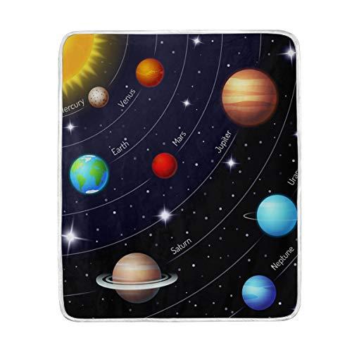 MOFEIYUE Universe Galaxy Solar System Throw Blanket Soft Microfiber Gift Travel Bed Sofa Blankets 50 x 60 in for Kids Boy Girls Women Men