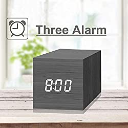 Digital Alarm Clock, with Wooden Electronic LED Time Display, 3 Dual Plus Alarm, 2.5-inch Cubic Small Mini Wood Made Electric Clocks for Bedroom, Bedside, Black