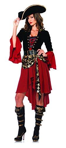 Leg Avenue Women's 2 Piece Cruel Seas Captain Pirate Costume, Black/Burgundy, (Sea Wench Costumes)