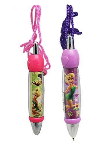 Disney Fairies Pink and Lavender Colored Case Chubby Lanyard Pens (Black Ink) ()