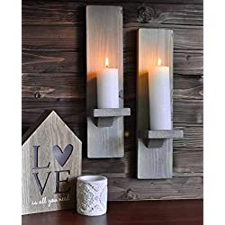 Rustic Wall Sconces or Candle Holders in Distresse