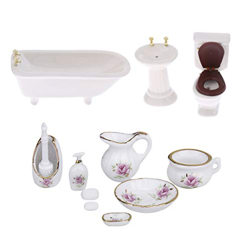 Fenteer 1/12 Scale Dollhouse Bathroom Furniture Handmade Ceramic Closestool Bathtub Container 11pcs Set