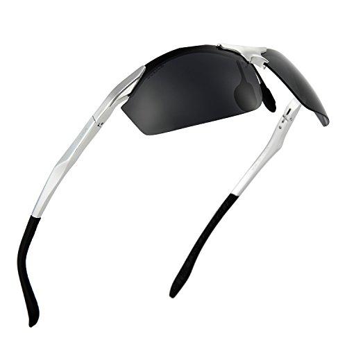 New Arrival TR Sunglasses Premium Fashion Polarized Sports Cycling Running Fishing by Soxick (Silver semi - Custom Design Glasses