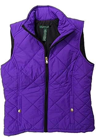 Lauren Ralph Lauren Womens Quilted Padded Vest (XS, Purple/Black)