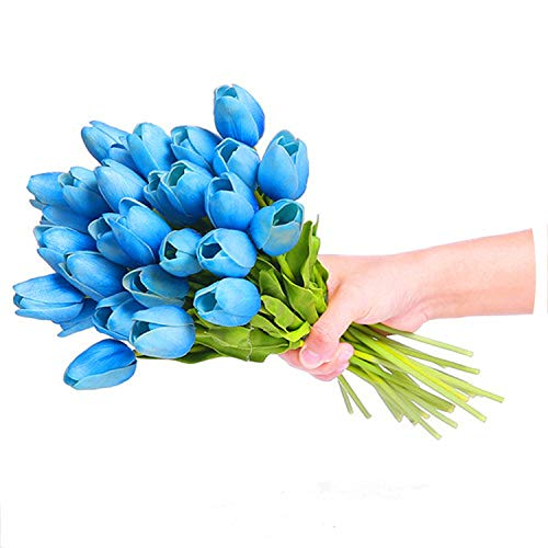 Baby hunter station 30 PCS Flores de la Novia Artificial Tulip Flower Real Touch Wedding Home Decoration Accessories Flowers,Blue