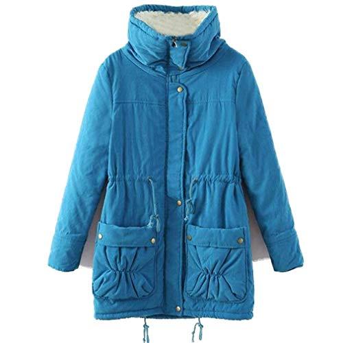 veste col élégant survêtement Blau longues occasionnel plus jeune coréen femmes au Manteaux mode d'hiver veste manches lâche chaud épaissir HRqZwxIvx1