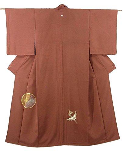 アイデア罪バレーボールリサイクル 着物 付下  縁起の良い鶴亀文 正絹 袷 裄62.5cm 身丈159cm