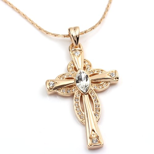 - FC JORY Rose Gold Plated Crystal Alloy Cross Pendant Diamante CZ Necklace Large Size