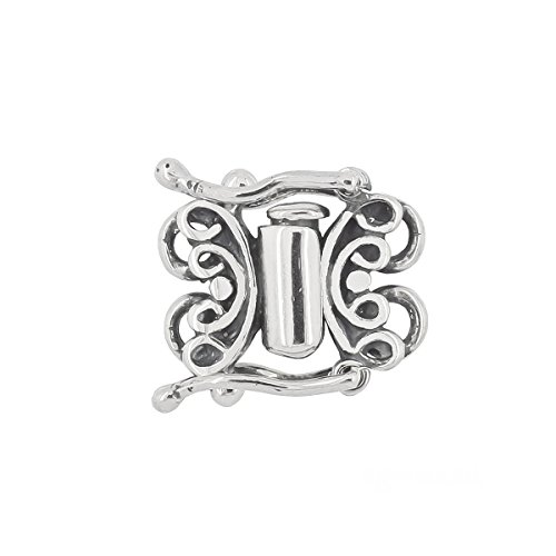 Sterling Silver 2-Strand Butterfly Tube Clasp with Secure Lock for DIY Necklace Bracelet, Oxidized Silver ()