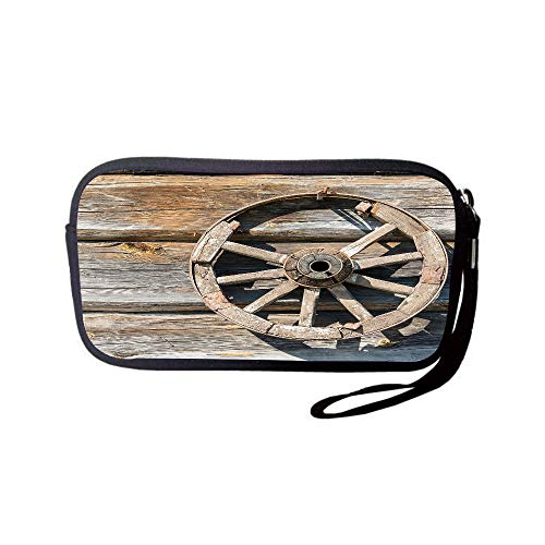 Wagons Cartwheels - iPrint Neoprene Wristlet Wallet Bag,Coin Pouch,Barn Wood Wagon Wheel,Old Log Wall with Cartwheel Telega Rural Countryside Themed Image Decorative,Umber Beige,for Women and Kids