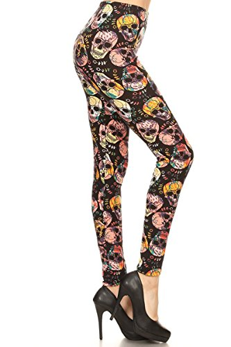 Leggings Depot REG/PLUS Women's Best Selling Buttery Soft Popular Prints BAT21 (Plus (Size 12-24), Season of Skull)
