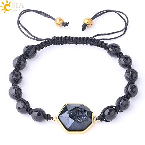 Zozu CSJA 8mm Natural Purple Crystal Amazon Stones Bracelet Faceted Beads Druzy Quartz Weave Friendship Bracelets Unisex Jewelry F817 (Black Tourmaline)