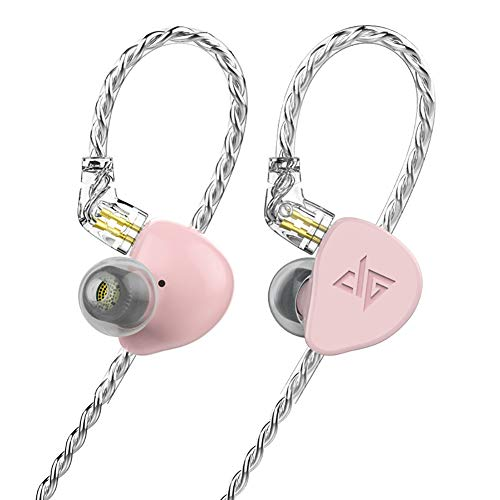 F300 in-Ear Monitors, HiFi Stereo Headphones with Detachable Cable Universal-Fit Wired Sports 0.78mm 2PIN (Pink)