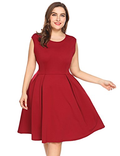 Involand IN'VOLAND Plus Size Women Christmas Sleeveless A-Line Printed Santa Swing Dress Holiday Party Dresses(XL_5XL)
