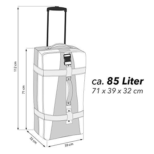 BoGi Bag Reisetasche Rollkoffer Reisekoffer Deutschland Koffer, 72 cm, 85 L, Schwarz/Rot/Gold Türkis Braun