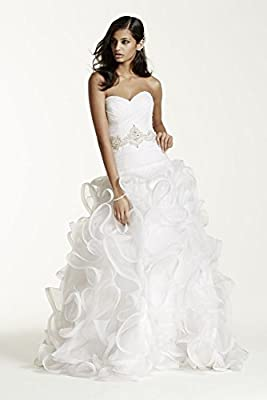 Organza Ruffled Skirt Wedding Dress with Embellished Waist Style SWG492