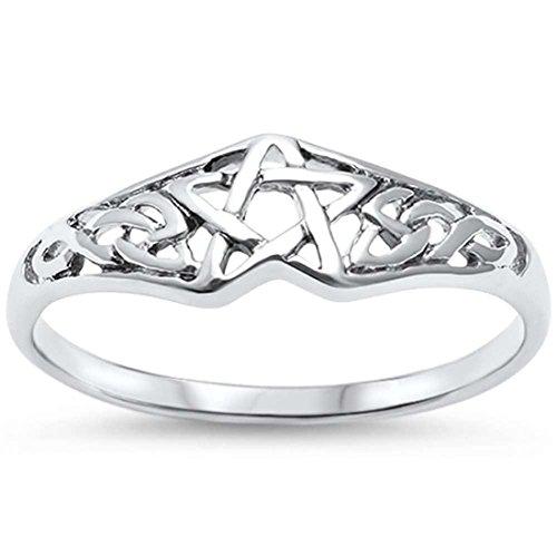 Blue Apple Co. Pentagram Band Ring Celtic Filigree Design 925 Sterling Silver Pentagram Star, Size-7