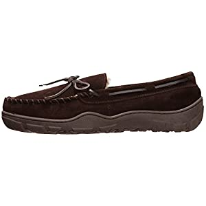 Rockport Memory Foam Plush Lining Suede Slip On Moccasin Indoor/Outdoor Men's Slippers (Size 11 Slipper, Brown Moccasin)
