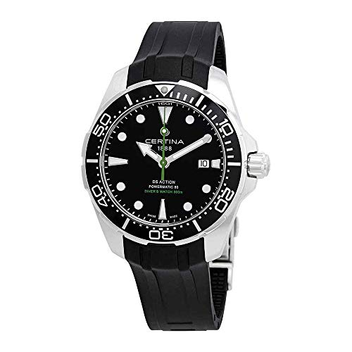 Certina Men's DS Action Diver 43mm Black Rubber Band Steel Case Automatic Analog Watch C032.407.17.051.00