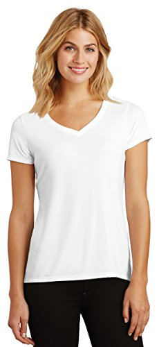 District Made Women's Perfect Tri V-Neck Tee DM1350L White Medium