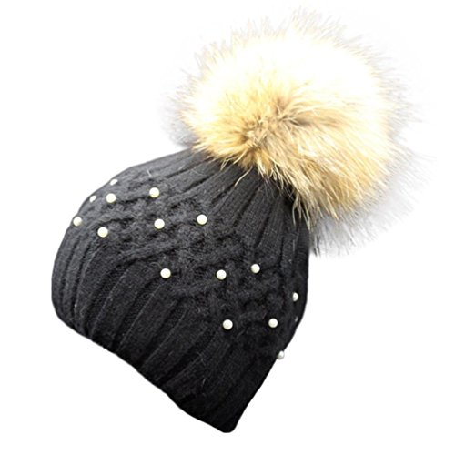 DEESEE Women Winter Pearl Crochet Hat Fur Wool Knit Beanie Warm Cap (Black)