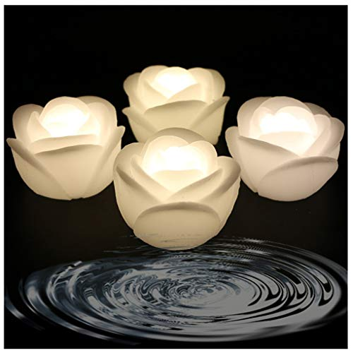 ARDUX LED Floating Candles, Rose-shape Wax Waterproof Floating Candles Tealight Night Light Flameless Candle with Battery-powered for Wedding Party Decoration (Pack of 4, Warm White) ()
