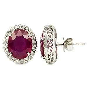 Ruby Majestic Oval-cut Earring In 18k White Gold - Diana