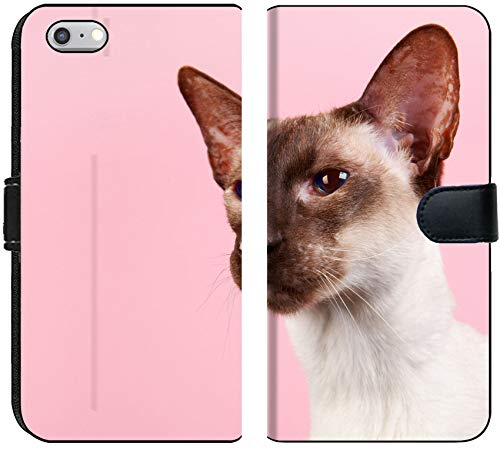 (Liili iPhone 6 and iPhone 6S Flip Micro Fabric Wallet Case Image ID: 28174959 Seal Point Siamese cat with Blue Eyes on Pink Background)