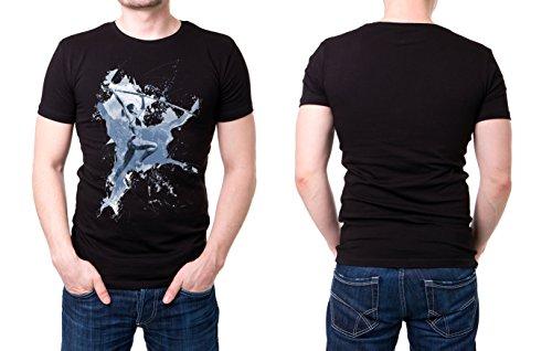Stabhochsprung schwarzes modernes Herren T-Shirt mit stylischen Aufdruck
