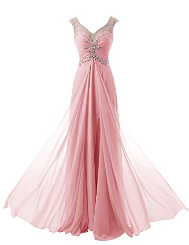 Diyouth Long Cap Sleeves V Neck Appliques Prom Dresses Backless Blush Size 18W