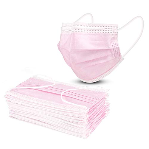 Disposable Masks, AXHKIO Pink Face Mask, Pack of 100, Ship from the USA, Anti Dust, Breathable (100 PCS-PINK)