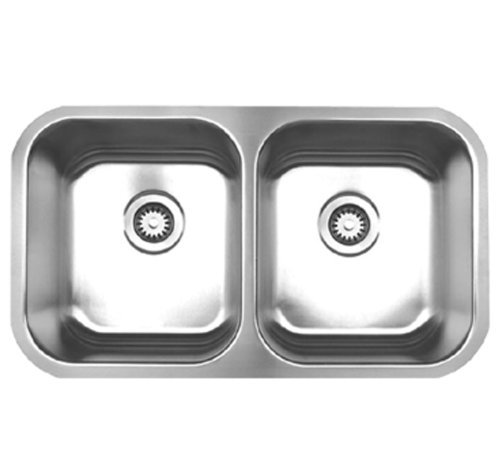 Whitehaus WHNEDB3118-BSS Noah's Collection 31-3/8-Inch Double Equal Bowl Undermount Kitchen Sink, Brushed Stainless Steel ()