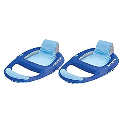 Kelsyus Floating Pool Lounger Inflatable Chair w/Cup Holder Blue (2 Pack) 80014: Toys & Games