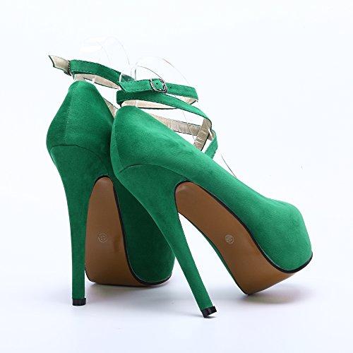 OCHENTA Women's Ankle Strap Platform Pump Party Dress High Heel (Beige Sole) Green GYqkyPuHg