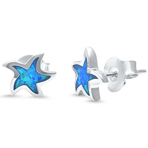 Sterling Silver Lab Created Opal Star Earrings Three Colors Available (Lab Created Blue Opal) (Created Lab Silver Star)