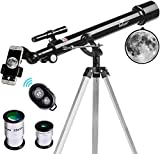 Telescope, 60mm Aperture 700mm AZ Mount Astronomy Refractor Telescope, Scope with Smartphone Adapter and Bluetooth Camera Remote for Kids & Beginners