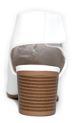 J. Adams Peep Toe Bootie - Low Stacked Heel - Open Toe Ankle Boot Cutout Velcro Enclosure White Pu jF74Q35M