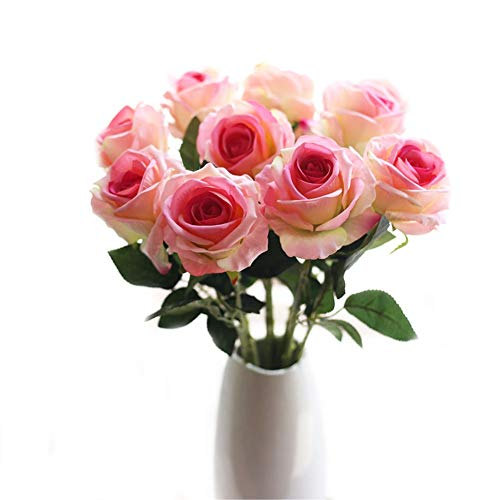 Crt Gucy Artificial Flowers Long Stem Silk Rose Flower Bouquet Wedding Party Home Decor, Pack of 6 ()