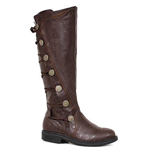 "Mens Fresco Brown Knee High 1"" Period Boots Size Medium 10-11"