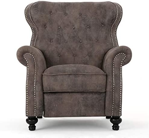 Waldo Tufted Wingback Recliner Chair Warm Stone