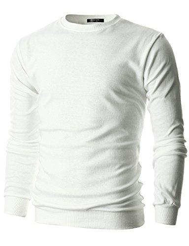 GIVON Mens Slim Fit Lightweight Crew Neck Sweatshirt/DCS006-WHITE-L