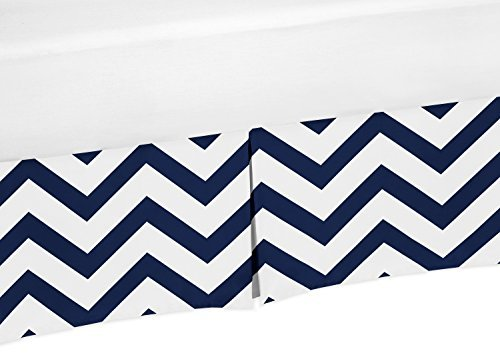 Sweet Jojo Designs Navy Blue and White Zig Zag Crib Bed Skirt Dust Ruffle for Boys Chevron Collection Baby Bedding Sets