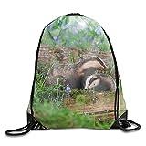 Drawstring Bag Animal Badger Flower Purple Sackpack Travel Cinch Tote Kids Adults Storage Bags