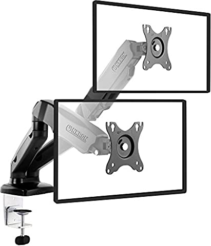 ONKRON Dual Monitor Desk Mount Full Motion with Mount and Gas Spring Fully Adjustable Mounting Arm for 2 Computer Monitors 13'' - 27 Inch LED LCD Flat Panel TVs up to 14.3lbs G160 (Dual Mount Monitor Arm)