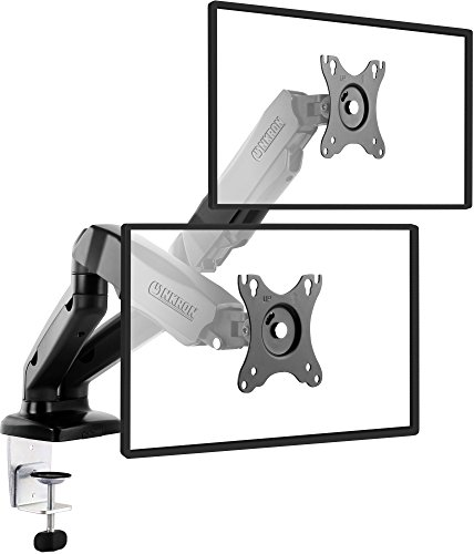 ONKRON Dual Monitor Desk Mount Full Motion with Mount and Gas Spring Fully Adjustable Mounting Arm for 2 Computer Monitors 13'' - 27 Inch LED LCD Flat Panel TVs up to 14.3lbs G160 Black