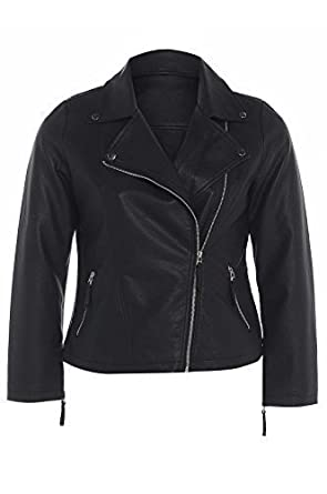 2d66640da16 NEW Womens PLUS SIZE BIKER JACKET Crop FAUX LEATHER Ladies ZIP Coat SIZE  16