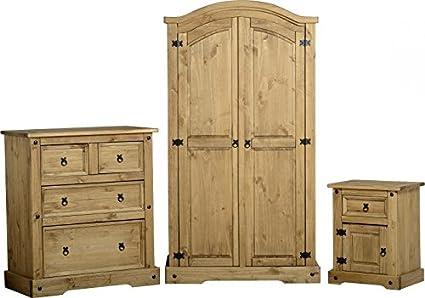 Corona - Set da 3 mobili in pino, stile messicano, con armadio ...