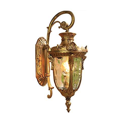 (LPZF Outdoor Waterproof Wall Sconce E26 Lantern Fixture, Classic Garden Lighting Wall lamp Glass Corridor Lamp-Golden-S 16x43cm)