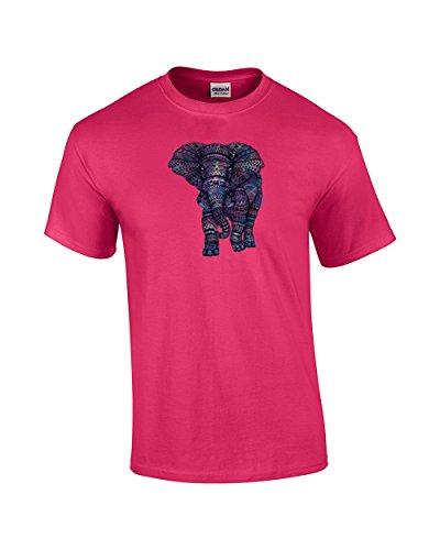 Elephant Colorful Aztec Design T-Shirt-Fuschia-Medium ()